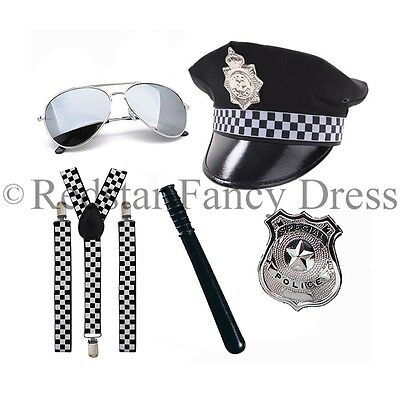 Polizei Kostüm Klammern Hut-Abzeichen Pilotenbrille Baton Polizist Herren Damen