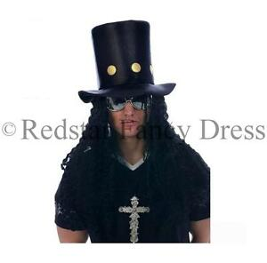 80'S SLASH HAT & WIG HAIR HEAVY METAL FANCY DRESS GUNS N ROSES HAT