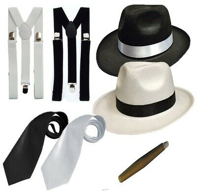 GANGSTER FANCY DRESS SET AL CAPONE TRILBY HAT SUSPENDER BRACES TIE AND CIGAR](Al Capone Dress)