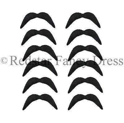 12 X Schwarz Mexikanisch Tash Biker 70ER JAHRE Movember 118 Kostüm (70er Jahre Schnurrbart Kostüm)