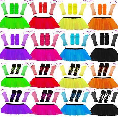 Neon Tütü Rock Satz 80s Jahre Zubehör Kostüm Junggesellinenabschied T Handschuh