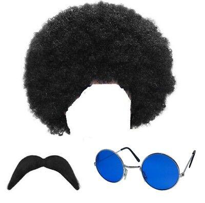 Kostüm Hippie Perücke Brillen Tash 60er Jahre 70er Groovy Retro Lennon Outfit
