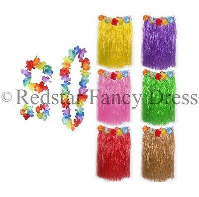 LADIES HAWAIIAN SKIRT AND 4PC LEI FANCY DRESS SUMMER CARNIVAL LUAU HULA COSTUME](Hula Skirts And Leis)