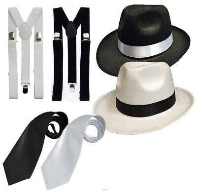 ADULT GANGSTER DELUXE TRILBY HAT BRACES TIE 1920'S GATSBY BUGSY MALONE AL - Mens 20s Costumes