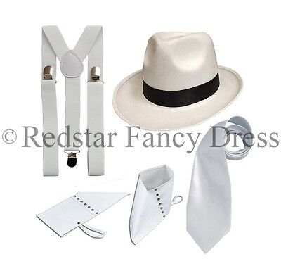 WHITE DELUXE GANGSTER SET 1920'S FANCY DRESS PIMP TRILBY SPATS BRACES TIE ADULT