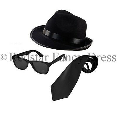 BLUES BROTHERS HAT SUNGLASSES BLACK TIE FANCY DRESS COSTUME STAG PARTY GANGSTER (Gangster Man Costume)