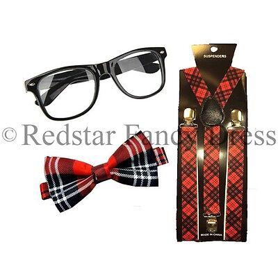 Rot Schottenkaro Hosenträger Krawatte und Geek Gläser Fancy-Dress Kostüm ()