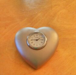 Skagen Heart Shaped Desk Paperweight Clock! Used! Free Ship.+ No Tax!