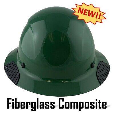 Dax Fiberglass Composite Lift Safety Full Brim Hard Hat - Factory Green