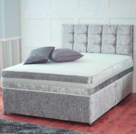Stunning Double crushed velvet divan base bed