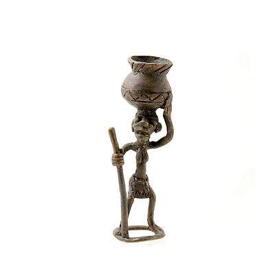 Figure African Figurine Bronze African Bamoun Peasant Jug Cameroon R1