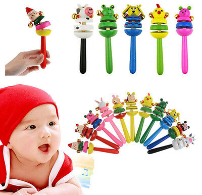Wooden Toy Rings - Rainbow Musical Instrument Toy Colorful Wooden Hand Jingle Ring Bell Rattle Kid