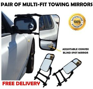 PAIR TOWING MIRRORS UNIVERSAL MULTI FIT TRAILER CARAVAN 4X4 4WD