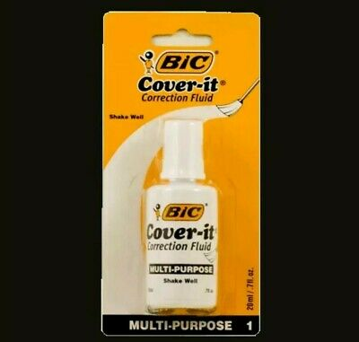 Bic Cover-it White Out Correction Fluid Liquid Paper 0.7oz Each -brand New