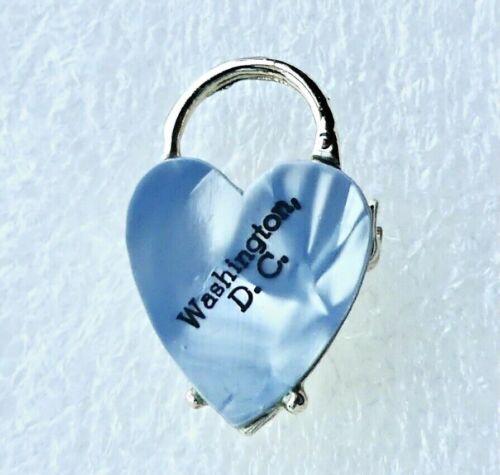 VINTAGE WASHINGTON DC SOUVENIR PENDANT PIN - BLUE FAUX MARBLE CELLULOID HEART