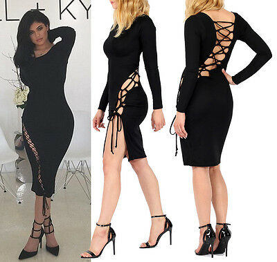 - Womens Celebrity Little Black  Dress Lace Up Wedding Party Prom Midi Dress