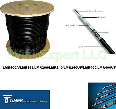 10 FT TIMES® LMR100 LMR195 LMR240 LMR400 LMR600 LOW LOSS FLEX COAX RF CABLE ONLY. Buy it now for 11.99