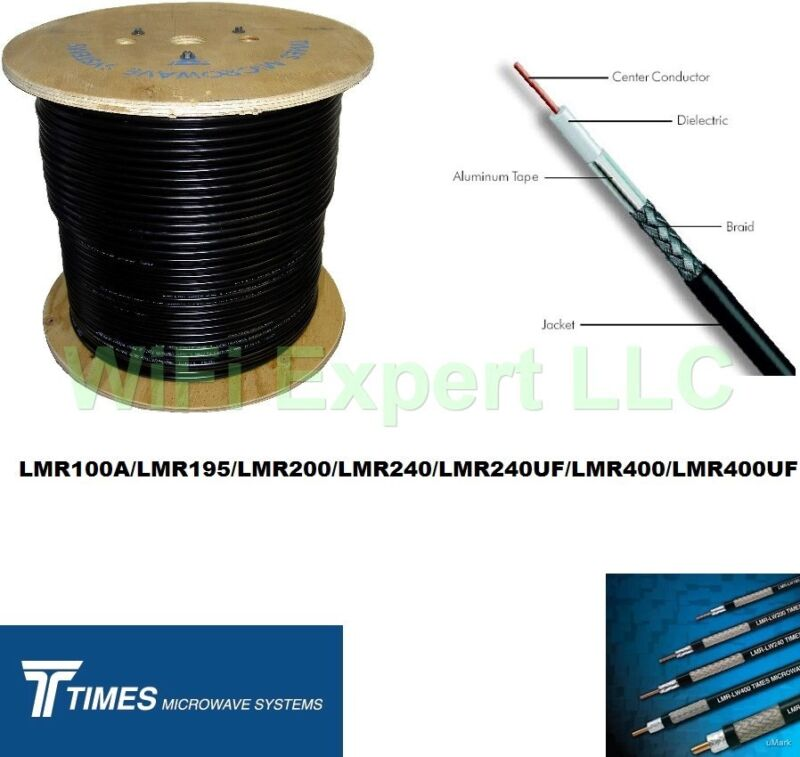 10 FT TIMES® LMR100 LMR195 LMR240 LMR400 LMR600 LOW LOSS FLEX COAX RF CABLE ONLY