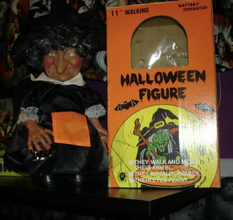Vintage 1989 Sancho Walking Witch Monster Motionette Box Halloween Prop AA49