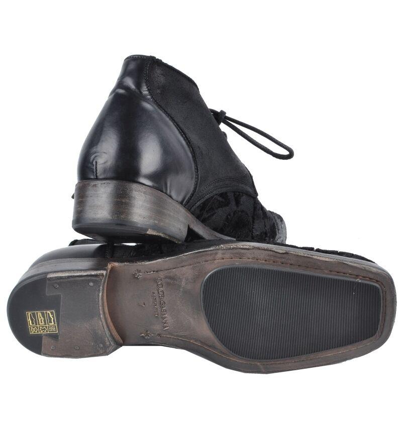 DOLCE /& GABBANA Vintage Shoes Black Chaussures Noir 02277