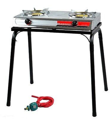 Portable Propane Gas Gasoline lpg 2-Burner Stove Stand Dual Burners Cook Stand (Portable Gas Burner)