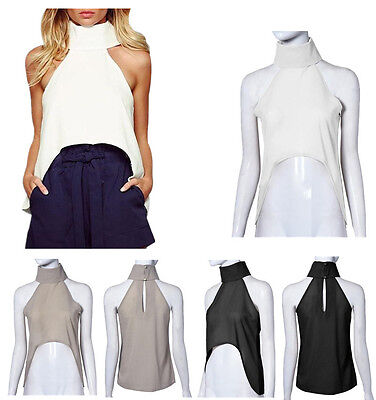 Fashion Women Blouses Halter Cropped Turtleneck Vest Off Shoulder Sexy Crop Tops