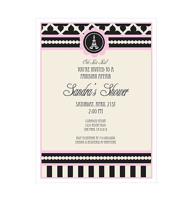 Parisian Themed Bridal Shower (Parisian Paris Theme PERSONALIZED Birthday Bridal Shower Invitations - Set of)