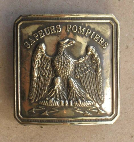 ANTIQUE FRENCH FIREMAN OFFICER BRASS BELT BUCKLE / 19th C.