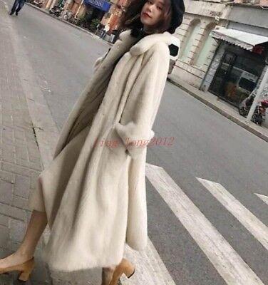 Winter Warm Genuine Mink Fur Long Coat Womens Soft Fur Thick Jacket -