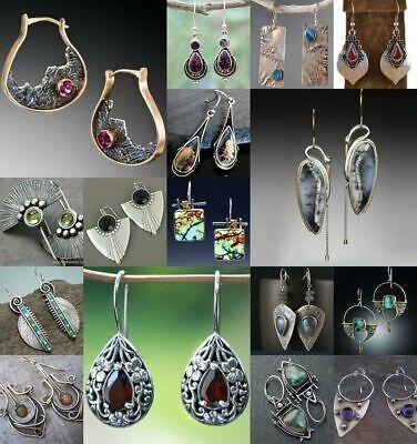 925 Silver Ruby Amber Sapphire Earrings Moonstone Turquoise Ear Hook Drop Dangle