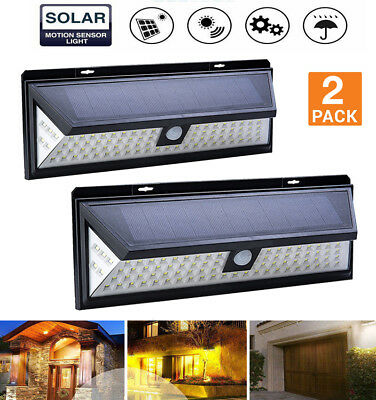 2X 86 LED Solar Light PIR Motion Sensor Spot Lamp Garden Outdoor Sun Power
