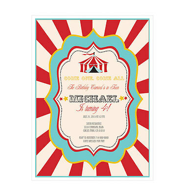 Carnival Birthday Invitations (Circus Carnival PERSONALIZED Birthday Party Invitations - Set of)