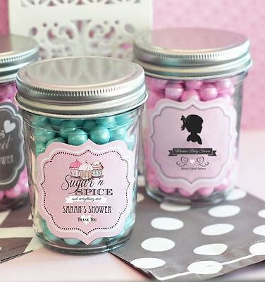 96 Personalized Vintage Baby Theme Mini Mason Jars Baby Shower Candy Jar