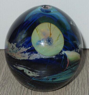John Lewis Art Glass Opaline Blood&Blue Moon Bottle/Vessel/Vase/Paperweight '74