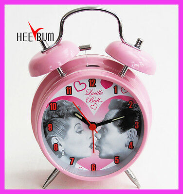 I Love Lucy Desk Twin Bell Pink Alarm Clock Decor Collector Clock