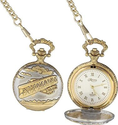 Wright Brothers Pocket Watch With Chain Airplane First Flight  Gift Boxed