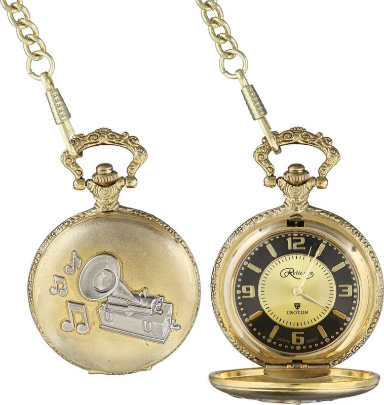 Collectible Pocket Watch Thomas Edison First phonograph With Chain Fob Gift Box