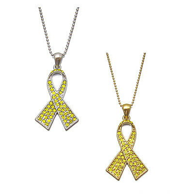 Crystal Yellow Ribbon Bow Bone Cancer Support Troops Awareness Charm Necklace
