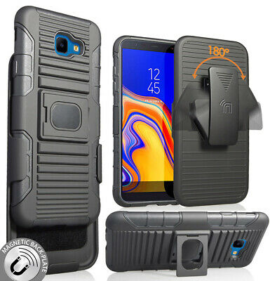 Black Magnet Grip Case Stand + Belt Clip Holster for Samsung Galaxy J4 Core/Plus