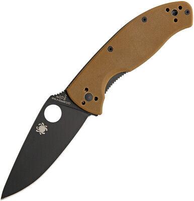 Spyderco Tenacious Folding Knife Black Plain Edge Brown G10 Reversible 122GPBBN
