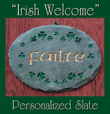 St. Patrick's Irish Shamrock Natural Slate Personalized Address OR Welcome (Personalized Slate Wall Plaque)
