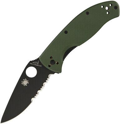 Spyderco Tenacious Folding Knife Black Combo Edge Green G10 Reversible 122GPSBGR