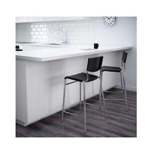 IKEA Black Silver Bar Stool Stig Tall High Backed