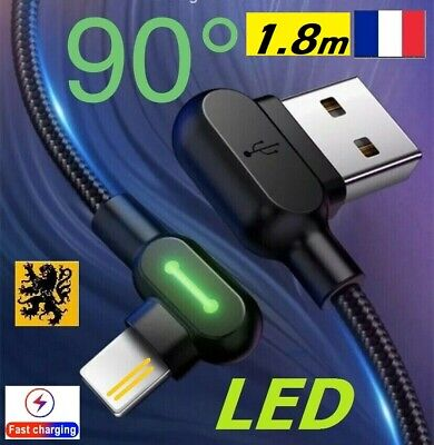 Câble chargeur rapide IPhone Apple 90° LED USB 5V 2.4A Lightning 1.8m...