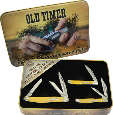 Schrade Old Timer Gift 3 piece Yellow Folding Knife Set 1105