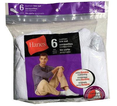 Hanes set of 6 paris Men's cushion Low Cut white socks fit shoe size (Cushion Low Sock)
