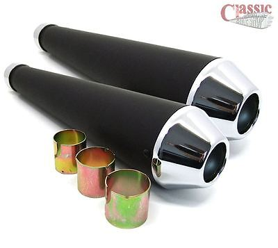 UNIVERSAL BLACK AND CHROME MEGAPHONE SILENCERS CAFE RACER STYLE