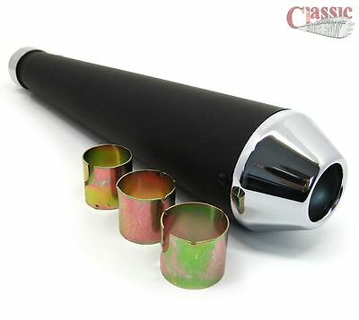 UNIVERSAL MEGAPHONE EXHAUST SILENCER MUFFLER BLACK AND CHROME
