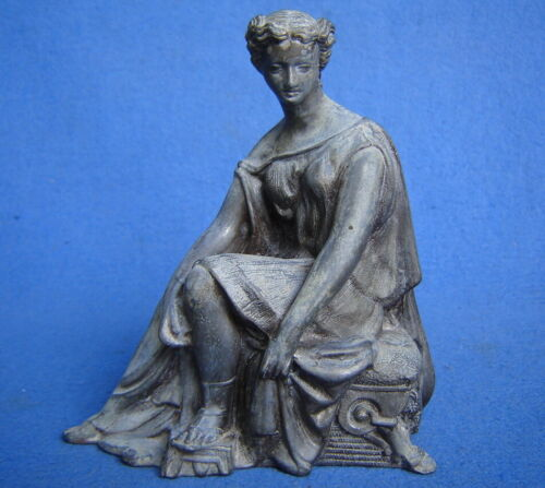ANTIQUE~VTG CAST SPELTER~METAL STATUE GREEK ROMAN WOMAN SITTING FIGURE CLOCK TOP
