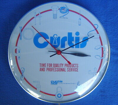 VTG. PAM GLASS AUTOMOBILE CAR ADVERTISING CLOCK ~ CURTIS INDUSTRIAL TOOLS PARTS